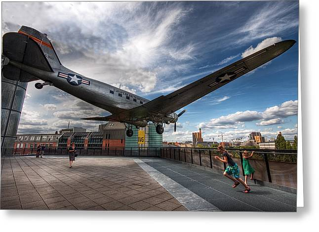 Urban Street Greeting Cards - The Plane Greeting Card by Martin Zalba