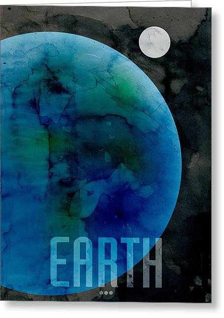Outer Space Greeting Cards - The Planet Earth Greeting Card by Michael Tompsett