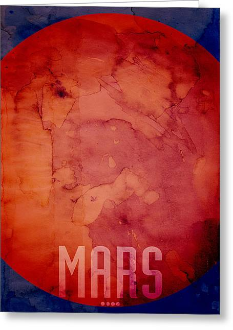 The Planet Mars Greeting Card by Michael Tompsett