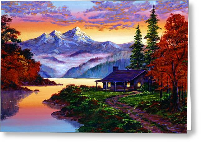Mist Paintings Greeting Cards - The Pleasures of Autumn Greeting Card by David Lloyd Glover