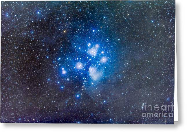 Blue Subaru Greeting Cards - The Pleiades, Also Known As The Seven Greeting Card by Alan Dyer