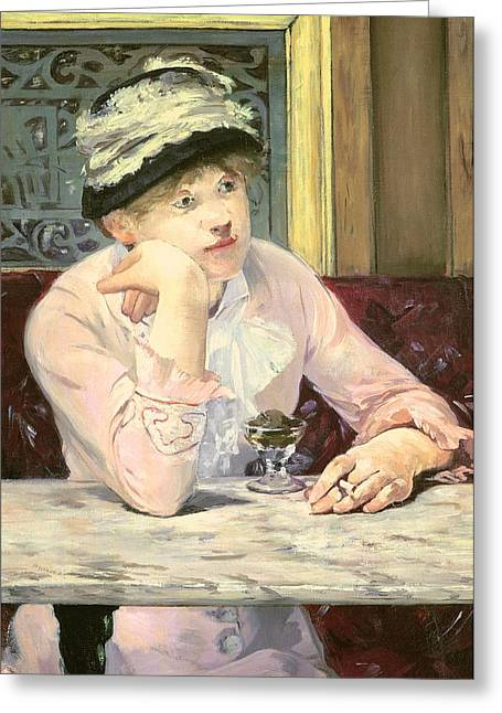 Marble Top Table Greeting Cards - The Plum Greeting Card by Edouard Manet