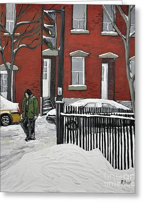Montreal Winter Scenes Paintings Greeting Cards - The Point Greeting Card by Reb Frost