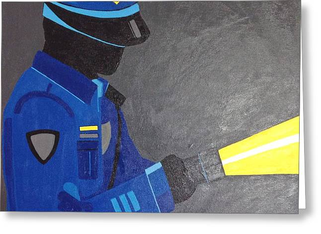 Law Enforcement Paintings Greeting Cards - The Police Officer Greeting Card by Sarah Jane Thompson