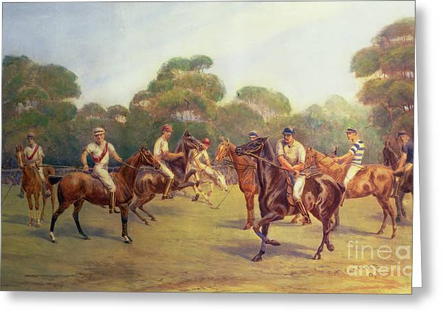 Team Paintings Greeting Cards - The Polo Match Greeting Card by C M  Gonne