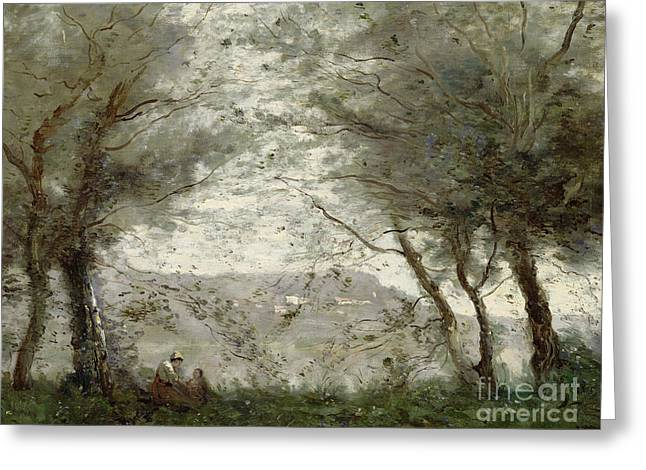Haut Paintings Greeting Cards - The Pond Greeting Card by Jean Baptiste Corot