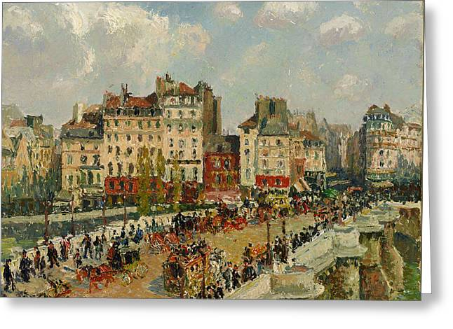 Pissaro Greeting Cards - The Pont - Neuf Greeting Card by Camille Pissarro