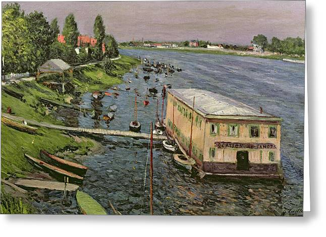 Dinghy Greeting Cards - The Pontoon at Argenteuil Greeting Card by Gustave Caillebotte