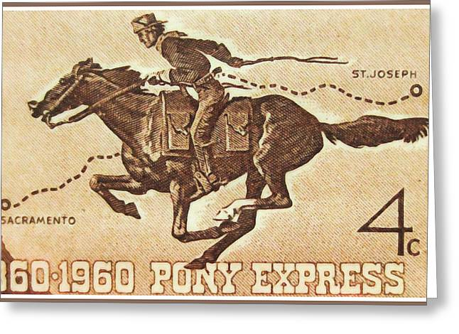 Express Paintings Greeting Cards - The Pony Express Centennial stamp Greeting Card by Lanjee Chee
