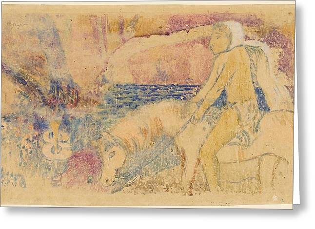 Shading Drawings Greeting Cards - The Pony Greeting Card by Paul Gauguin