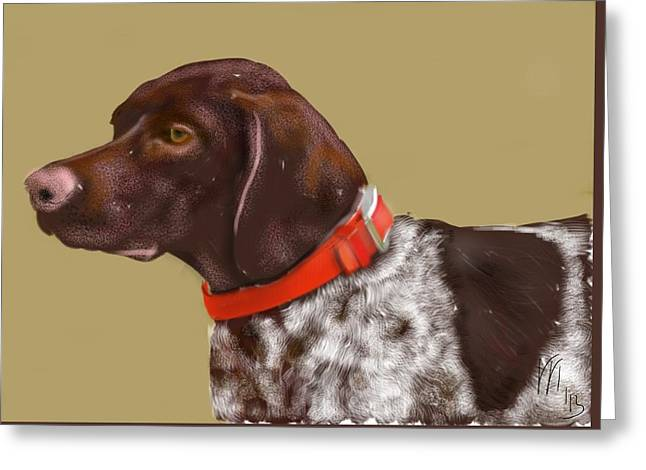 Dogs Digital Greeting Cards - The Pooch With a Red Collar Greeting Card by Lois Ivancin Tavaf