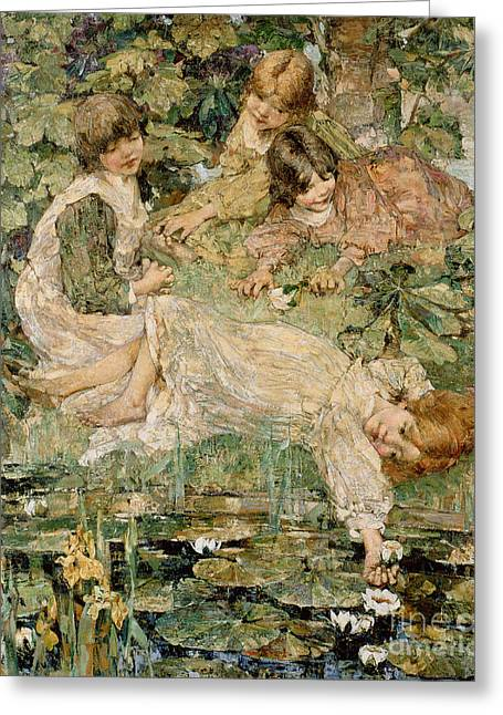 Water Lily Pond Greeting Cards - The Pool Greeting Card by Edward Atkinson Hornel