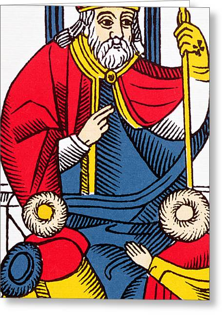 The Pope Tarot Card Greeting Card by French School