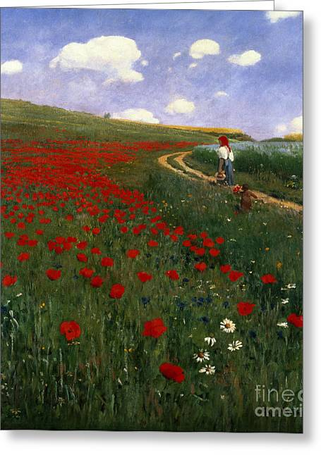 Country Side Greeting Cards - The Poppy Field Greeting Card by Pal Szinyei Merse