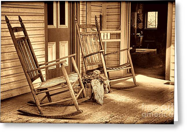 Historic Home Greeting Cards - The Porch Greeting Card by American West Legend By Olivier Le Queinec