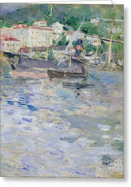 Berthe (1841-95) Greeting Cards - The Port at Nice Greeting Card by Berthe Morisot