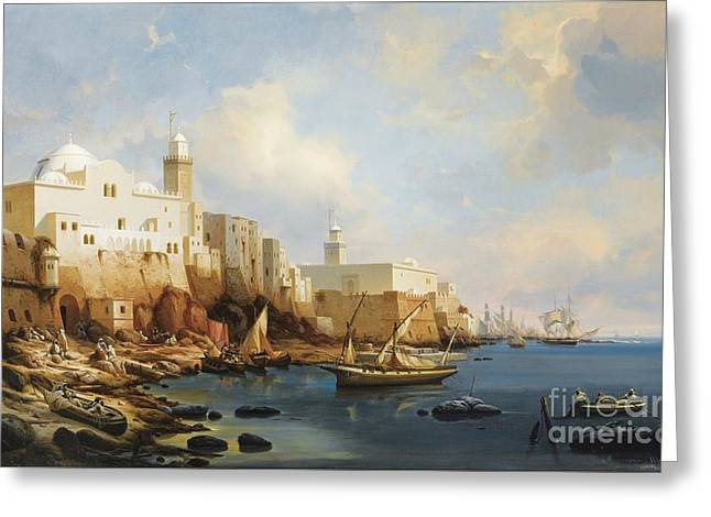 Niel Greeting Cards - The Port Of Algiers With The Jamaa Al-jdid And Jemaa Kebir Mosques Greeting Card by Celestial Images