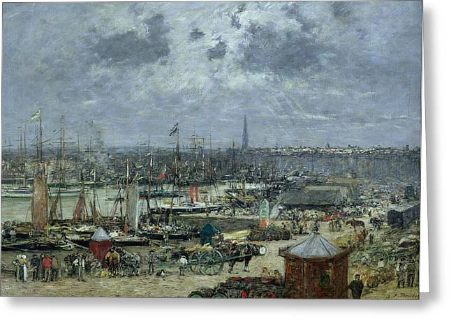 Kiosk Greeting Cards - The Port of Bordeaux Greeting Card by Eugene Louis Boudin