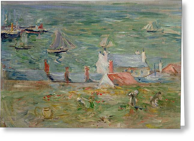 Berthe (1841-95) Greeting Cards - The Port of Gorey on Jersey Greeting Card by Berthe Morisot