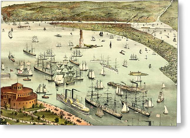 The Port Of New York, Birds Eye View From The Battery, Looking South, Circa 1892 Greeting Card by Currier and Ives
