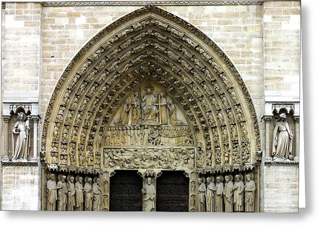 Patriarch Greeting Cards - The Portal of the Last Judgement of Notre Dame de Paris Greeting Card by Fabrizio Troiani