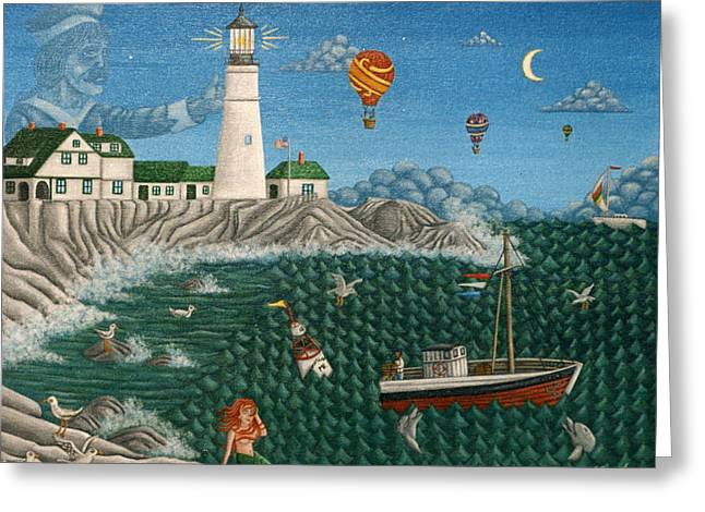 Captains Quarters Greeting Cards - The Portland Lighthouse Off the coast of Maine  Greeting Card by Joshua Mac Allistar