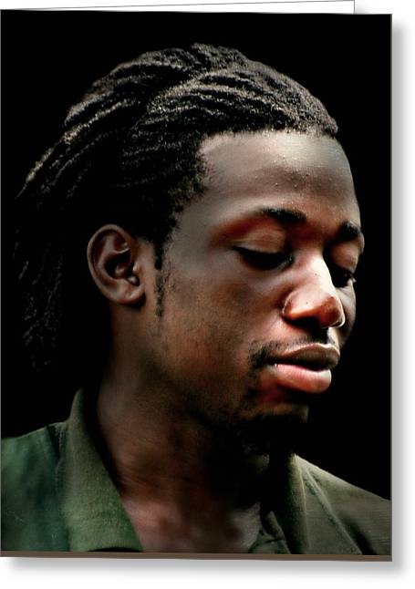 Black Man Greeting Cards - The Portrait Greeting Card by Diana Angstadt