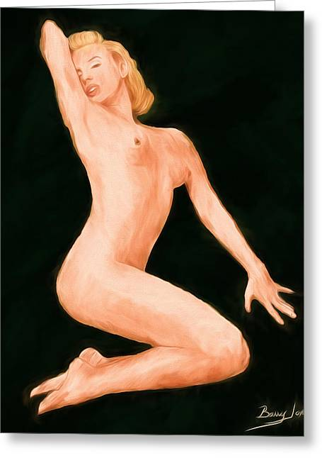 Nude Monroe Greeting Cards - The Pose Greeting Card by Barry Jones