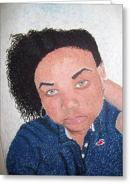 Person Pastels Greeting Cards - The pose Greeting Card by Jackilyn Shaw