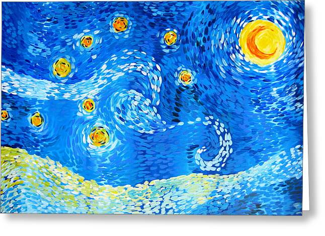 Cushion Paintings Greeting Cards - The positive Elements from Starry Night Greeting Card by Cathy Jacobs