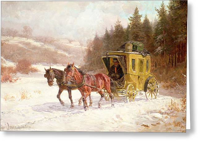 Wintry Greeting Cards - The Post Coach in the Snow Greeting Card by Fritz van der Venne