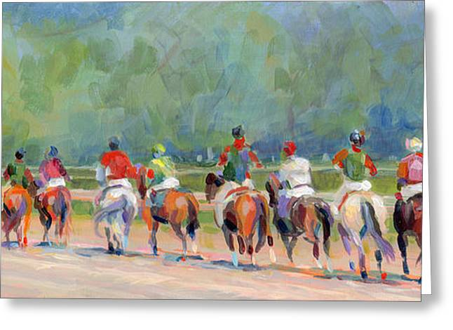Jockey Greeting Cards - The Post Parade Greeting Card by Kimberly Santini