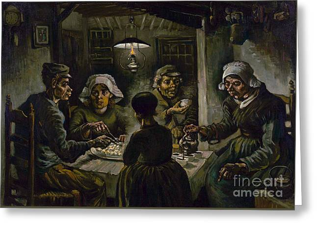 Vintage Painter Greeting Cards - The potato eaters Greeting Card by Van Gogh