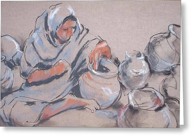 Mujeres Greeting Cards - The Potter Greeting Card by Joan  Jones