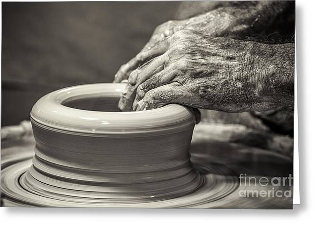 Potter And Clay Greeting Cards - The Potters Hands Greeting Card by Paul Malcolm