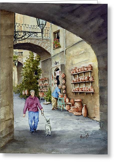 The Pottery Shop Greeting Card by Sam Sidders