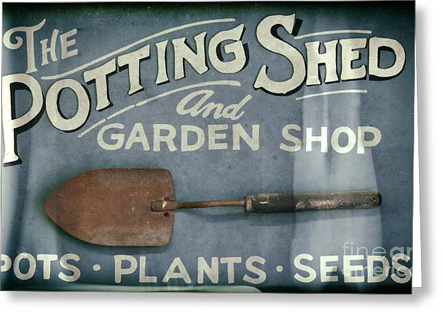 Shed Greeting Cards - The Potting Shed Greeting Card by David Millenheft