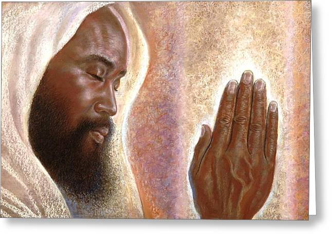 Religious Canvas Prints Drawings Greeting Cards - The Power of Prayer Greeting Card by Raymond Walker