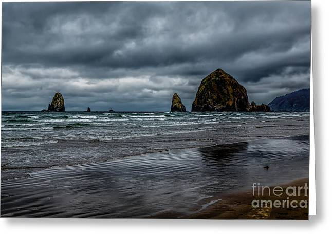 Oregon Coast Greeting Cards - The Power of the Sea Greeting Card by Jon Burch Photography