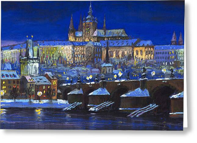 Czech Greeting Cards - The Prague Panorama Greeting Card by Yuriy  Shevchuk
