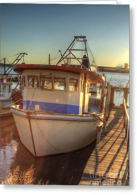 Prawn Boat Greeting Cards - The Prawning Boat Greeting Card by David Watson