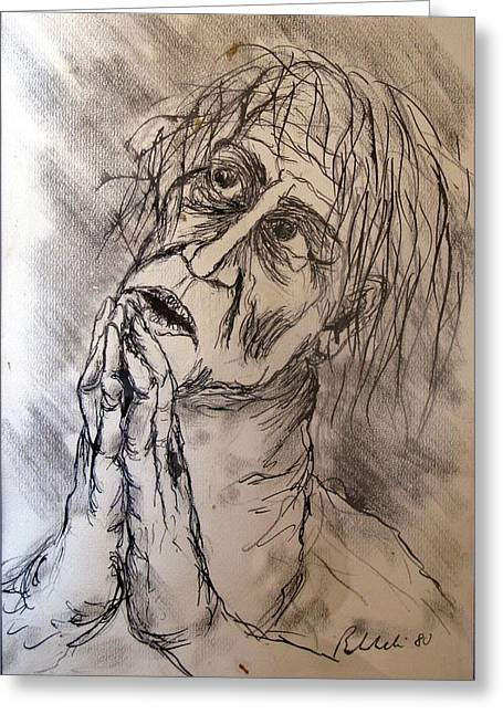 Recently Sold -  - Drypoint Greeting Cards - The Prayer Greeting Card by Alfonso Robustelli