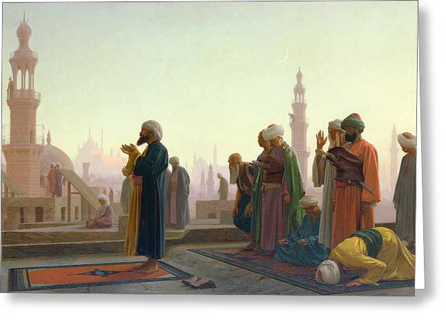 Dusk Greeting Cards - The Prayer Greeting Card by Jean Leon Gerome