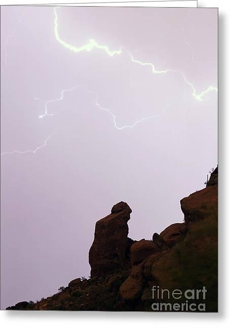 Arizona Lightning Greeting Cards - The Praying Monk Phoenix Arizona Greeting Card by James BO  Insogna