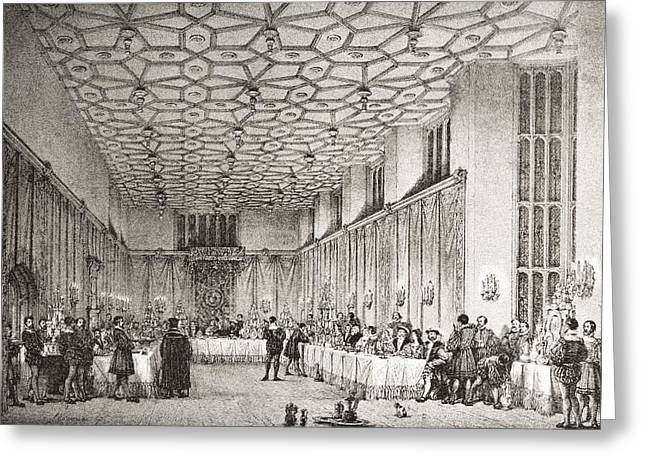 Hamptons Drawings Greeting Cards - The Presence Chamber, Hampton Court Greeting Card by Ken Welsh