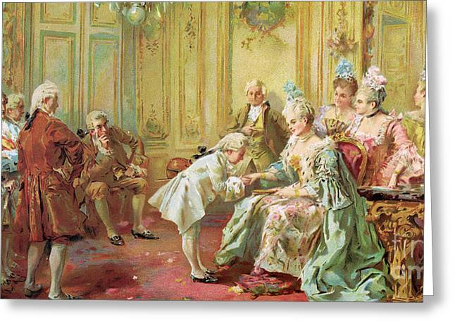 Mozart Greeting Cards - The presentation of the young Mozart to Mme de Pompadour at Versailles Greeting Card by Vicente de Parades