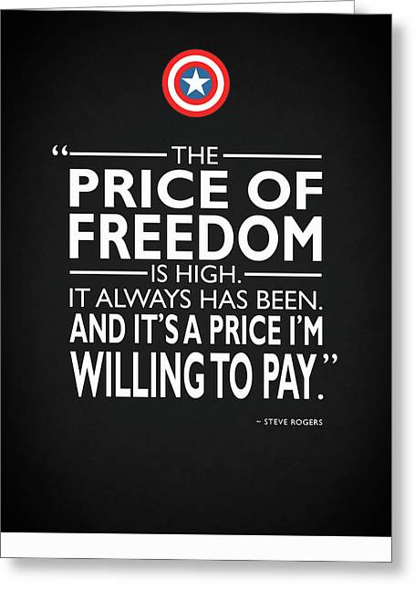 Captain America Photographs Greeting Cards - The Price Of Freedom Greeting Card by Mark Rogan