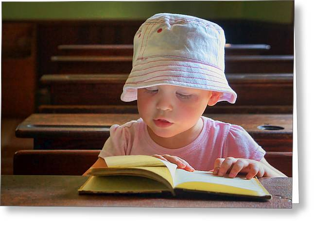 Schoolroom Greeting Cards - The Primer #2 - Child Reading Greeting Card by Nikolyn McDonald