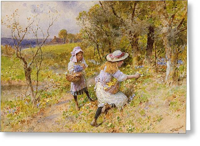 Young Child Greeting Cards - The Primrose Gatherers Greeting Card by William Stephen Coleman