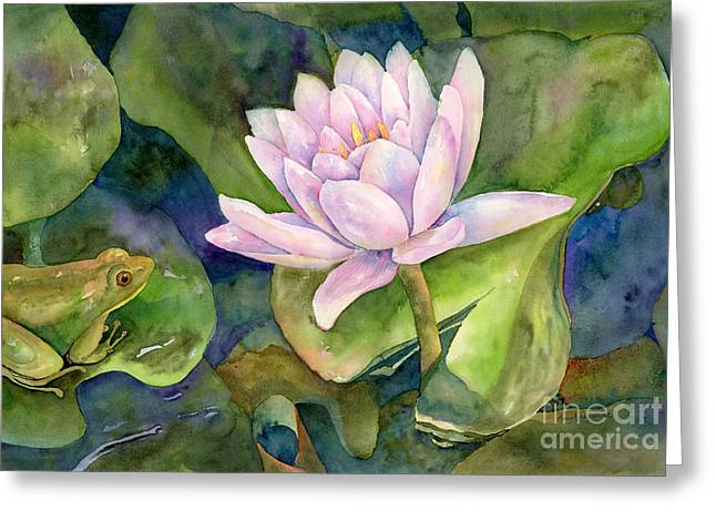 Leaf Frog Greeting Cards - The Prince of Peace Pond Greeting Card by Amy Kirkpatrick